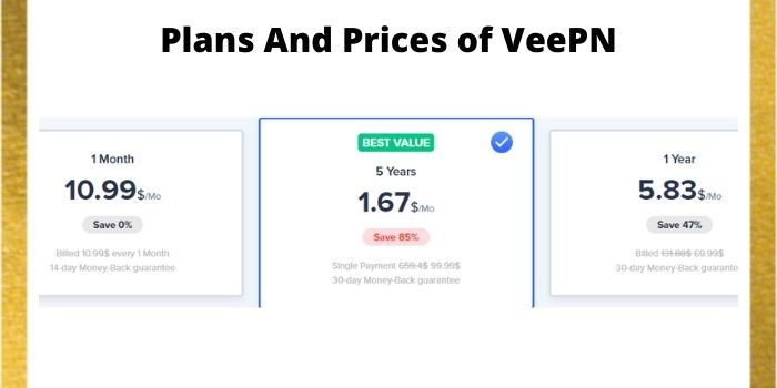 Plans And Prices of VeePN