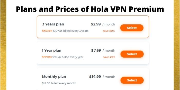 Plans and Prices of Hola VPN Premium