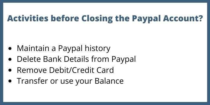 Activities before Closing the Paypal Account