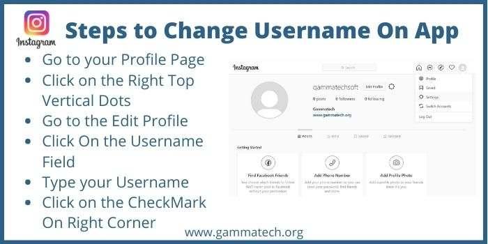 Steps to change Username On Instagram App