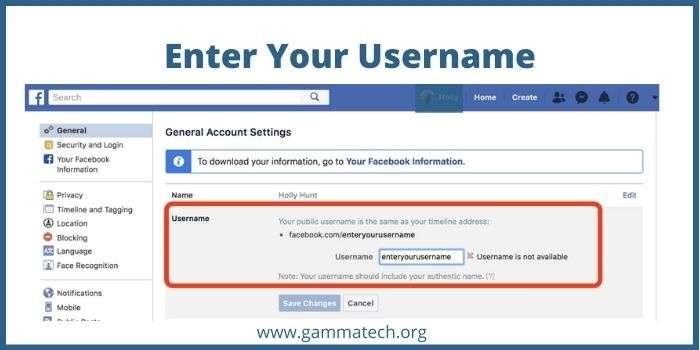 Update Facebook Username