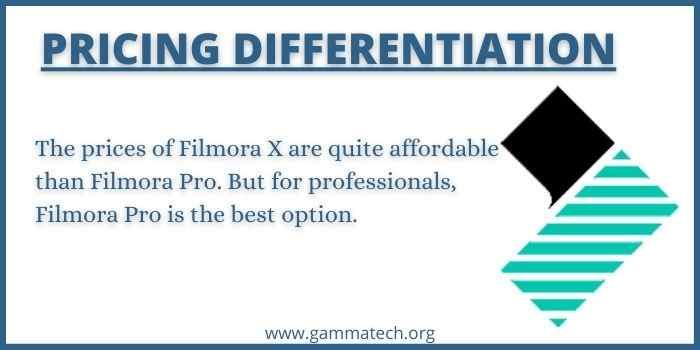 Price Difference of Filmora X or Filmora Pro