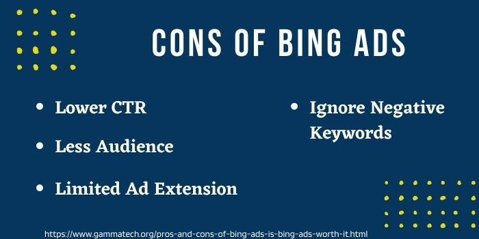 Weaknesses and disadvantages Of Bing Ads